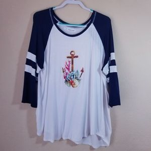 Maurices 2 nautical anchor shells tee 3/4 sleeve